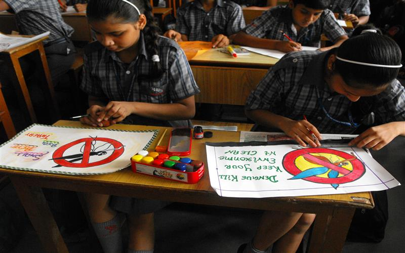 school organised a poster making slogan writing competition the topic was prevention of dengue the students of class vi ix participated in the